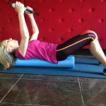 Roll down on foam roller, Image taken by Tiffany Pritchard at Bermondsey Square Hotel